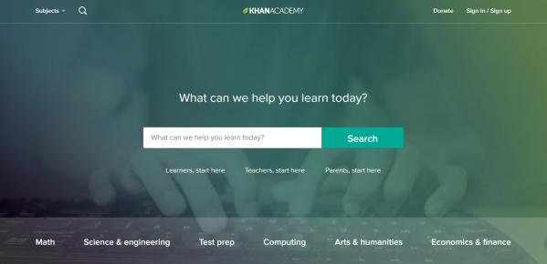 The Khan Academy main page.