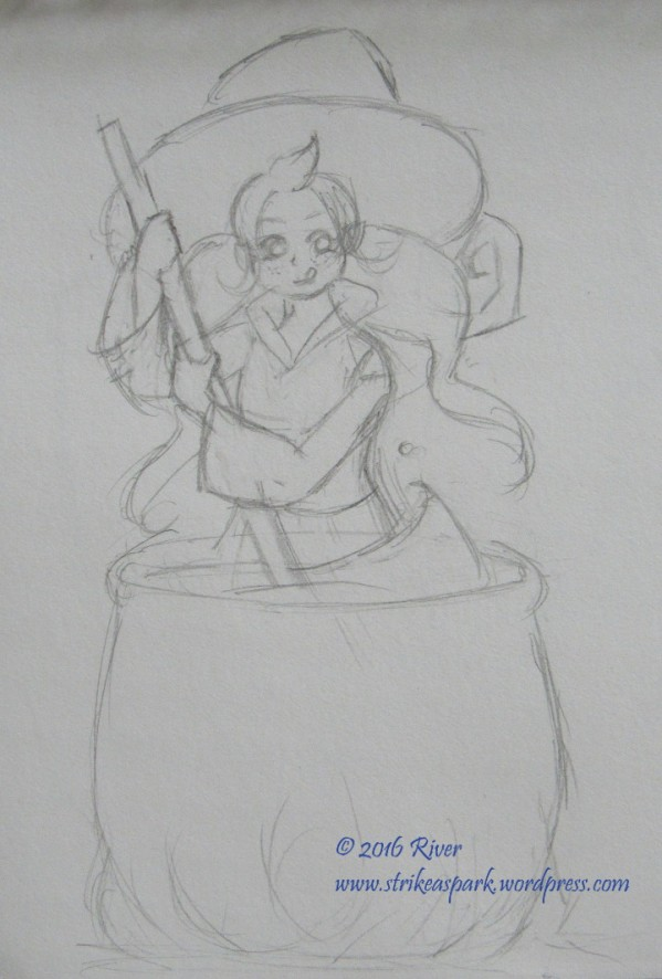 Apprentice Witch Sketch watermarked version by River