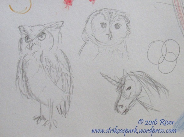 Owl and Unicorn Sketch watermarked