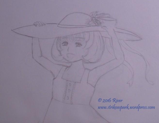 Summer Hat Sketch watermarked version