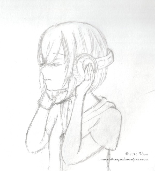 In White Noise Sketch, a girl wearing headphones is lost in her own world. (c) 2016 River at Strike A Spark.