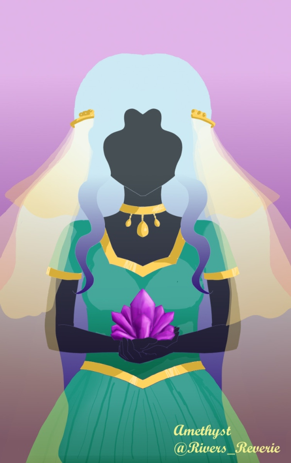 "Gemstone Challenge drawing for ""Amethyst"".  A mysterious girl holds an amethyst crystal.  She wears a teal dress and a misty gold veil."