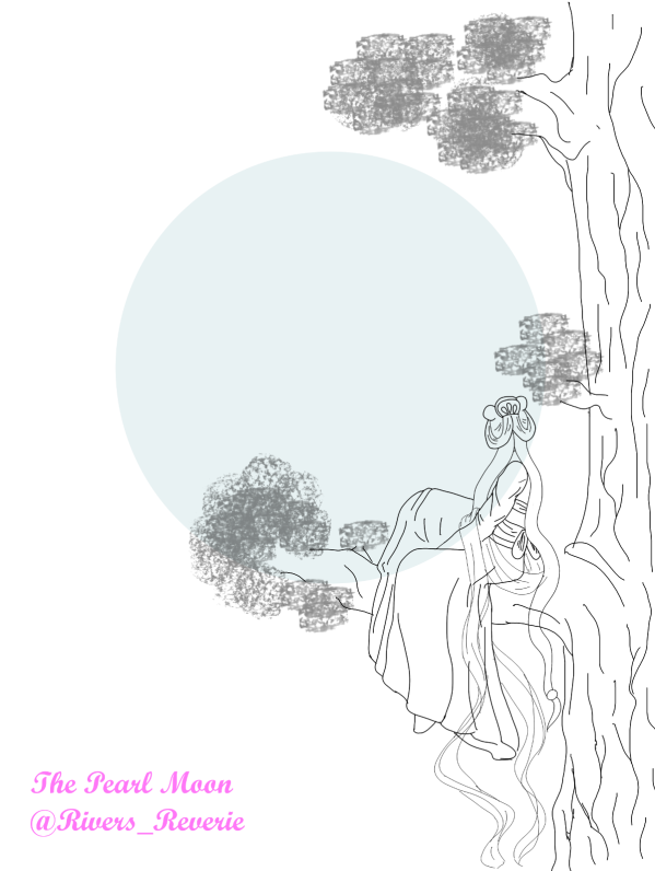 A lady in Eastern dress views the moon from a tree.