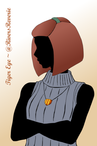 A digital painting of a woman modeling a tiger-eye pendant. Made with GIMP 2 by River.