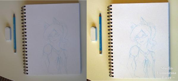 Caran d'Ache Blue Pencil River Sketch Editing Comparison
