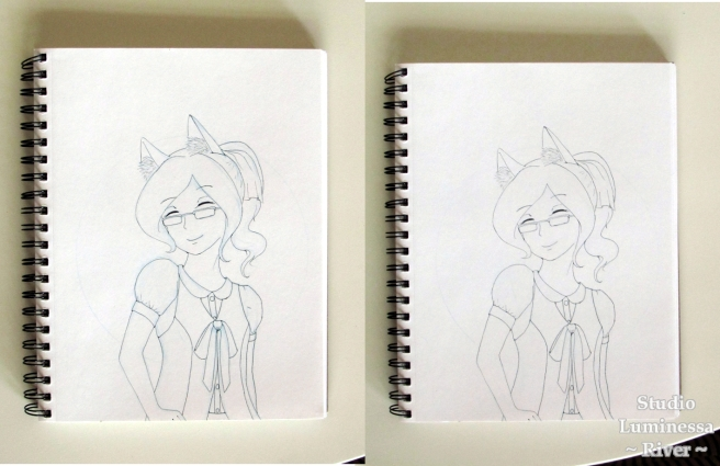 Caran d'Ache Blue Pencil River Sketch Inked Comparison