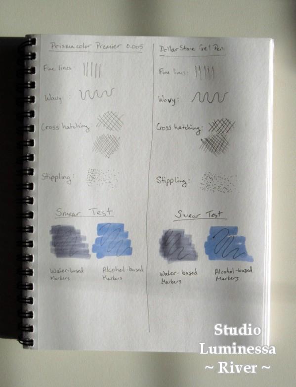 Prismacolor Premier 0.005 pen vs Dollar Store gel pen test page