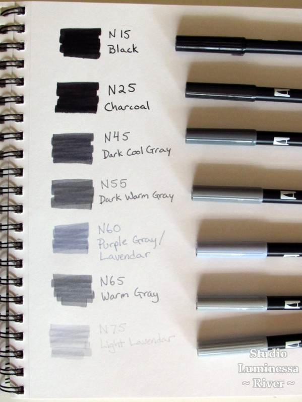 Tombow Dual-Brush Pen color test page one. Featuring N15, N25, N45, N55, N60, N65, and N75.