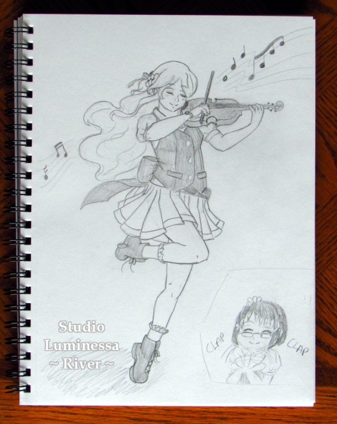 DEJ2 Day 3: The Violin Fairy. By River on Strike A Spark. Originally created for Draw Everything June 2.