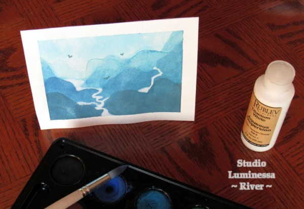 Watercolor painting of mountains and rivers, with birds flying above.