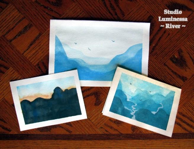 Watercolor mountains.