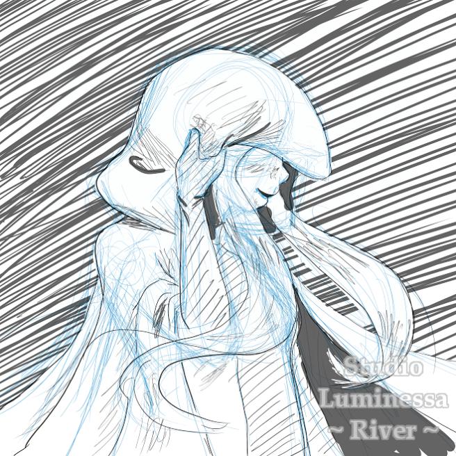 Grayscale sketch of a girl in a cloak.
