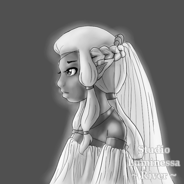 Work-in-progress digital fantasy portait of an elf lady.