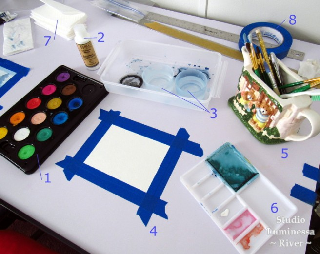 Artist table set-up for watercolors. Includes: watercolor pan, watercolor paper, two tubs of water, watercolor brushes, palette for mixing colors, masking tape, and paper towels.