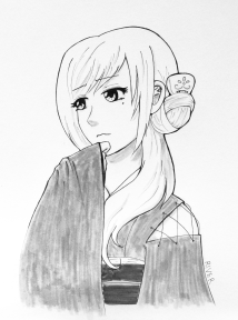 Inktober 3 Ruby (Rondo of the Rising Sun)