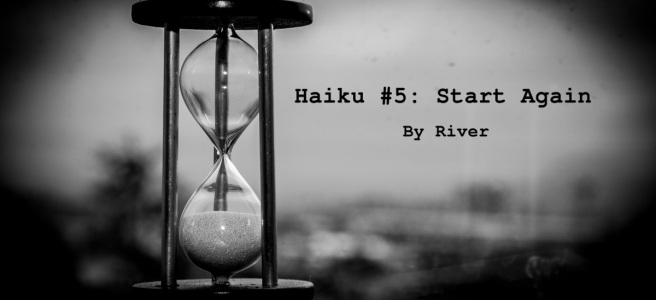 An hourglass; monochrome photograph. Image for Haiku #5: Start Again by River.