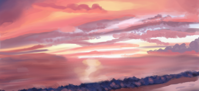 Sunset at the Beach - Landscape Art Study by River