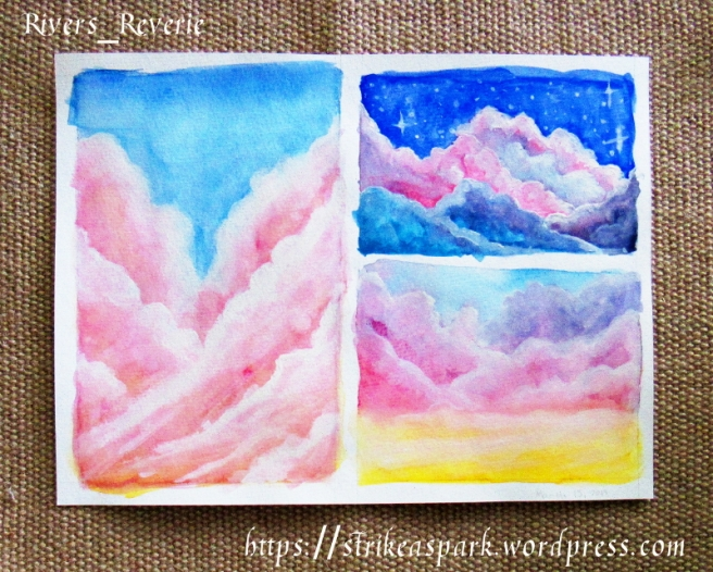 Clouds in Watercolor. Tutorial by makoccino on YT.