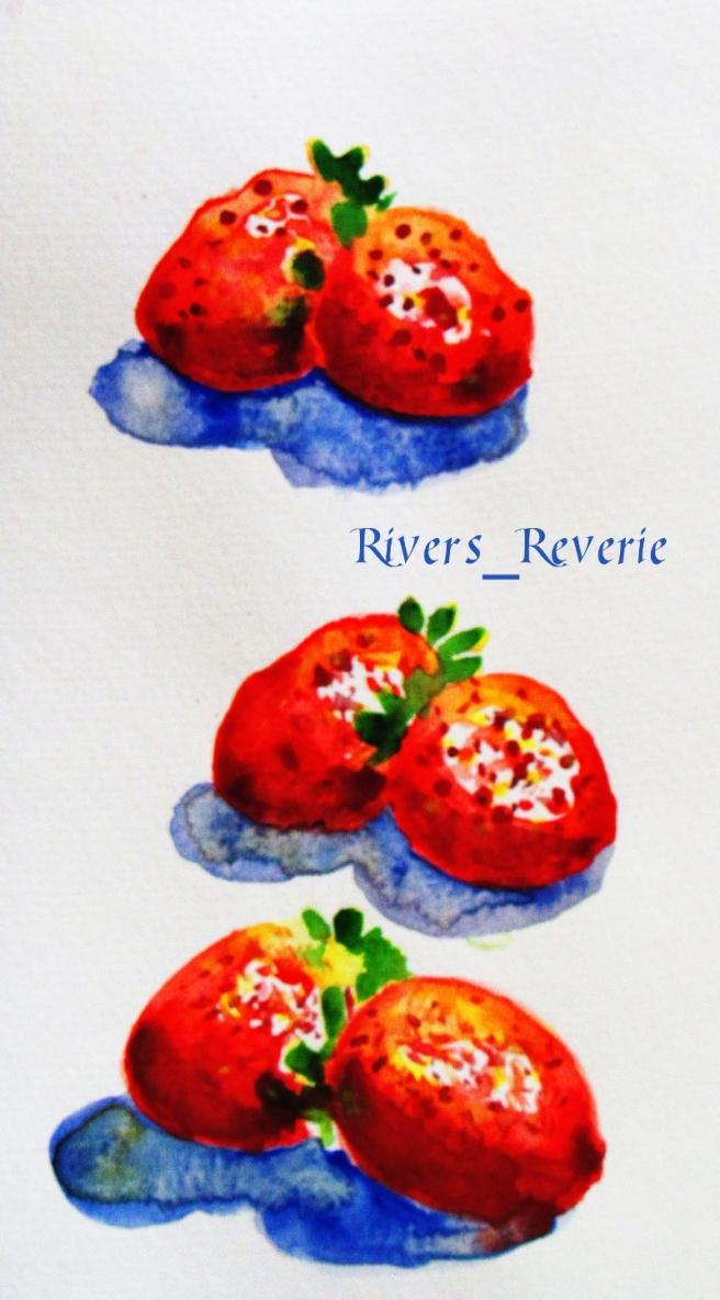 Strawberries in watercolor.